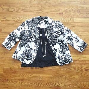 NWOT Lapis black and white floral blazer, sz M